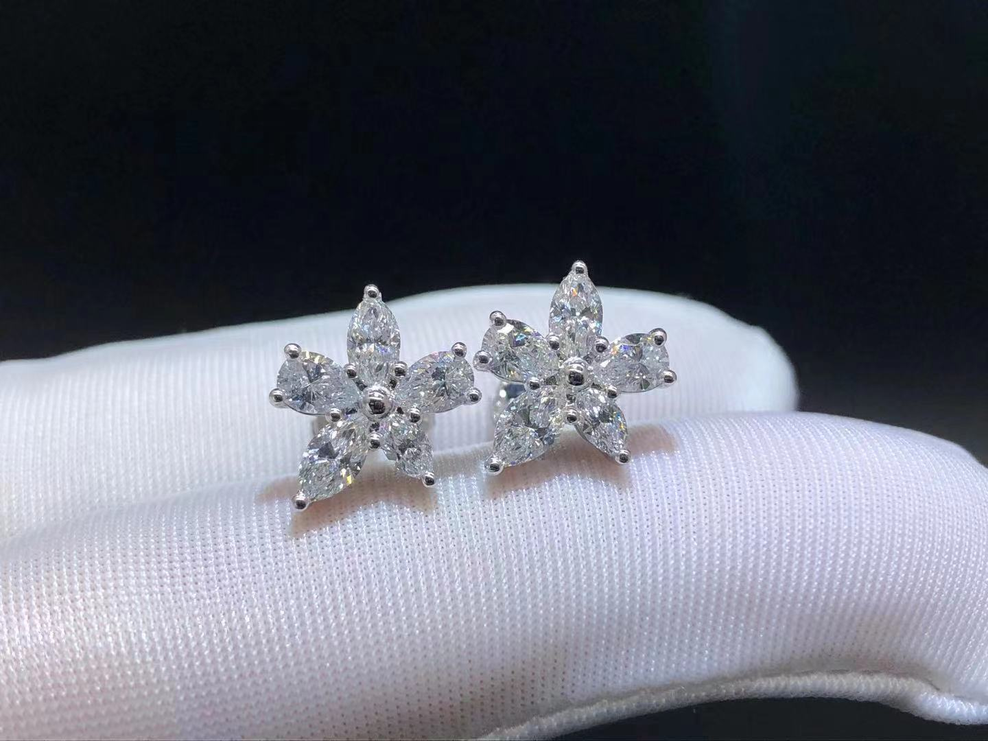 Tiffany & Co Platinum Victoria Mixed Cluster Large Model Earrings