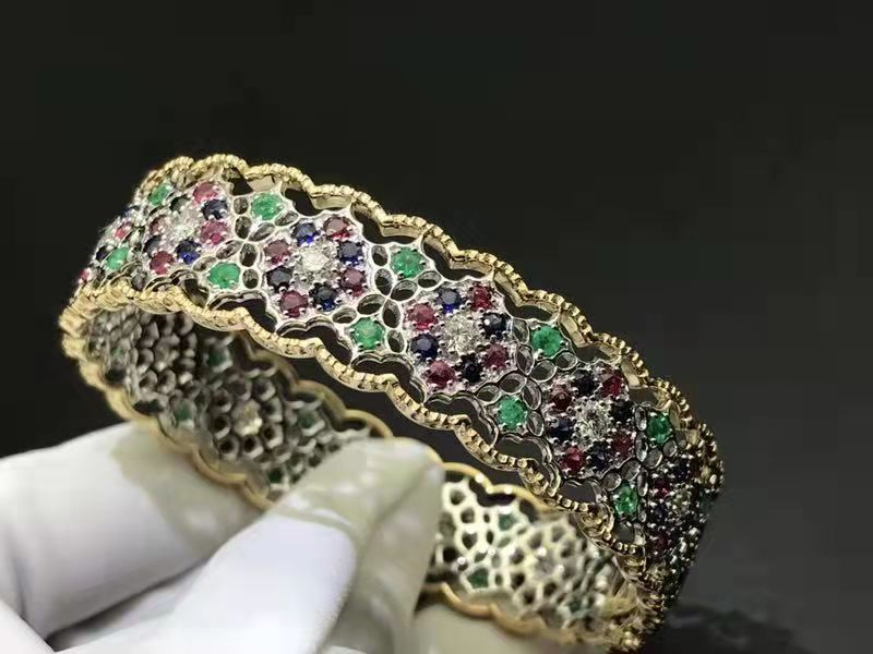 Inspired 18k Yellow Gold and White Gold Buccellati Ruby, Emeards, Blue Sapphire and Diamonds Euforia Bracelet